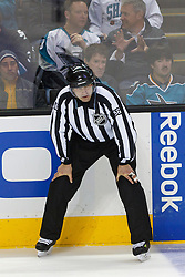 Feb 10, 2012; San Jose, CA, USA; NHL linesman Mark Wheler (56) before a face off between the San Jose Sharks and the Chicago Blackhawks during the first period at HP Pavilion. San Jose defeated Chicago 5-3. Mandatory Credit: Jason O. Watson-US PRESSWIRE