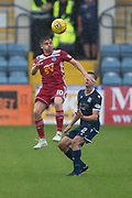 10th August 2019; Dens Park, Dundee, Scotland; SPFL Championship football, Dundee FC versus Ayr; Alan Forrest of Ayr United challenges for the ball with Cammy Kerr of Dundee