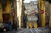 The steep countours of Lisbon's Rua de Bica de Quarte Belo in the Portuguese capital's Bica district.