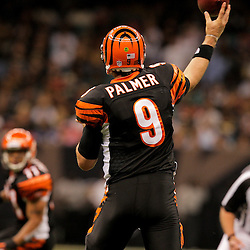 2009 August 14: Cincinnati Bengals quarterback Carson Palmer (9) throws to wide receiver Laveranues Coles (11) during a preseason opener between the Cincinnati Bengals and the New Orleans Saints at the Louisiana Superdome in New Orleans, Louisiana.