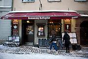 A restaurant in Stockholm, Sweden in winter.