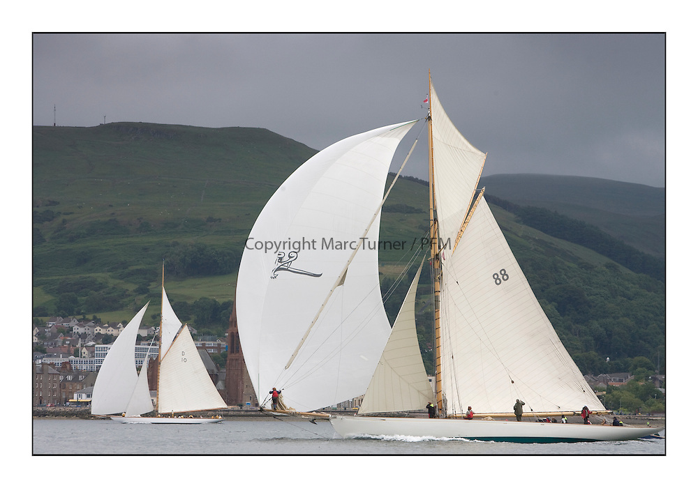 Moonbeam III 1903 Gaff Cutter with The Lady Anne ..The final day's racing on the King's Course North of Cumbrae...* The Fife Yachts are one of the world's most prestigious group of Classic .yachts and this will be the third private regatta following the success of the 98, .and 03 events.  .A pilgrimage to their birthplace of these historic yachts, the 'Stradivarius' of .sail, from Scotland's pre-eminent yacht designer and builder, William Fife III, .on the Clyde 20th -27th June.   . ..More information is available on the website: www.fiferegatta.com . .Press office contact: 01475 689100         Lynda Melvin or Paul Jeffes