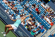 Ashleigh Barty (AUS) serves to Svetlana Kuznetsova (RUS) during the Western and Southern Open tennis tournament at Lindner Family Tennis Center, Saturday, Aug 17, 2019, in Mason, OH. (Jason Whitman/Image of Sport)