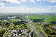 Nederland, Noord-Holland, Amsterdam, 09-04-2014;  knooppunt Holendrecht, A2 richting Utrecht en Vinkenveense Plassen. Fletcher Hotel en Food strip.<br /> Junction motorway A2 with Fletcher Hotel and Food strip.<br /> luchtfoto (toeslag op standard tarieven);<br /> aerial photo (additional fee required);<br /> copyright foto/photo Siebe Swart