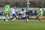 Forest Green Rovers Reuben Reid(26) shoots at goal scores a goal 1-0 during the EFL Sky Bet League 2 match between Forest Green Rovers and Mansfield Town at the New Lawn, Forest Green, United Kingdom on 24 March 2018. Picture by Shane Healey.
