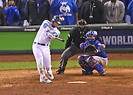 Oct 27, 2015; Kansas City, MO, USA; Kansas City Royals left fielder Alex Gordon hits a solo home run against the New York Mets in the 9th inning in game one of the 2015 World Series at Kauffman Stadium. Mandatory Credit: Peter G. Aiken-USA TODAY Sports