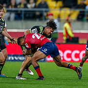 Ardie Savea tackled by Aidan Toua Super rugby union game (Round 14) played between Hurricanes v Reds, on 18 May 2018, at Westpac Stadium, Wellington, New  Zealand.    Hurricanes won 38-34.