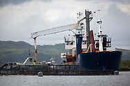 Norwegian-registered Eidholm, a ship supplying feed to salmon farms on the west coast of Scotland.<br /> <br /> Photograph © Colin McPherson, 2019 all rights reserved