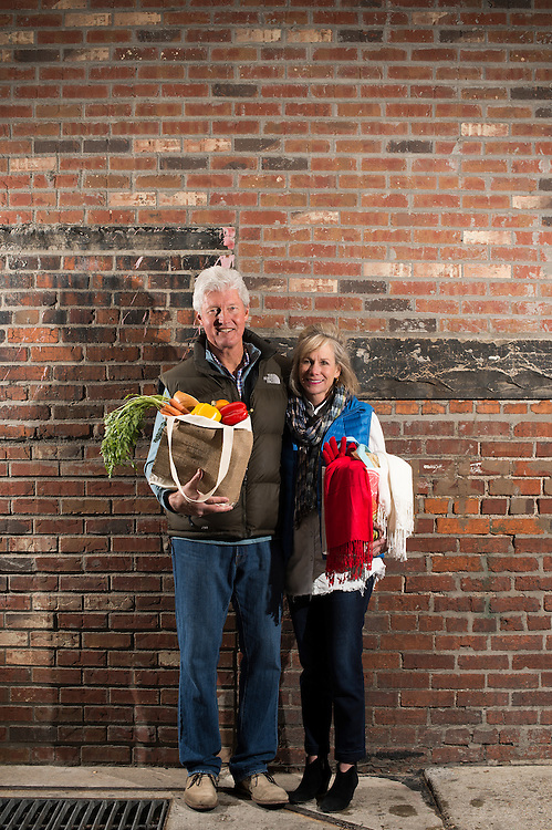 DENVER, CO - MARCH 26: Bill and Brooke Leer pose for a portrait in Denver's lower downtown neighborhood on March 26, 2016, in Denver, Colorado. (Photo by Daniel Petty/for the Catholic Foundation Alliance)