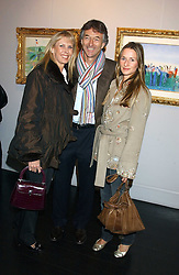 Left to right, STUART & SUSAN CROSSLEY she was Susan Sangster and his daughter AMANDA CROSSLEY at the opening of an exhibition of paintings and watercolours by Raoul Dufy held at the Opera Gallery, 134 New Bond Street, London W1 on 6th February 2006.<br />