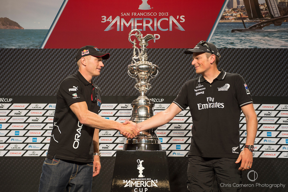 America's Cup skippers Press conference. Jimmy Spithill, Skipper of Oracle Team USA and Dean Barker, Skipper of Emirates Team New Zealand on either side of the America's Cup Trophy. 5/9/2013