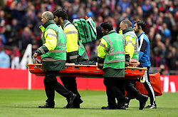 Etienne Capoue of Watford is put on a stretcher and taken off the field after getting injured - Mandatory by-line: Robbie Stephenson/JMP - 24/04/2016 - FOOTBALL - Wembley Stadium - London, England - Crystal Palace v Watford - The Emirates FA Cup Semi-Final