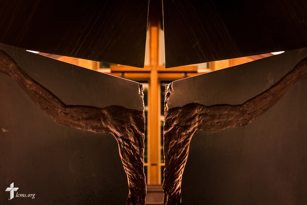 The cross on Graebner Memorial Chapel is seen through a sculpture on the campus of Concordia University, Saint Paul, on Wednesday, August 6, 2014, in St. Paul, Minn.   LCMS Communications/Erik M. Lunsford