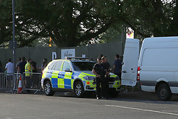 Portsmouth,Hampshire Friday 25th August 2017 Armed officers from Hampshire Police detained the driver and searched a white Mercedes van that had parked outside the main entrance to the Victorious festival this afternoon. <br /> <br /> <br /> Armed officers with firearms on display searched the rear of the vehicle and made the driver move the vehicle just after 6.20pm.<br /> Police are already on high alert due to the terror attacks in other parts of the UK.<br /> <br /> It is understood that Armed police officers  will be patrolling the event all week that is expected to attract 30,000 people.<br /> Police say this is not cause for concern, rather a way to keep people safe and provide a reassuring presence.<br /> As always, we have a strong policing operation in place and are working closely with the staff and security team at the Event, Portsmouth council to ensure people can enjoy themselves and get there and back safely.  <br /> Additional security checks  are taking place, so attendees  to this weekend festival are encouraged to arrive early to allow plenty of time for this.<br /> <br /> Everyone will be thoroughly searched before going into the venue and they have asked for people not to bring bags with them to avoid any delays.&copy;UKNIP