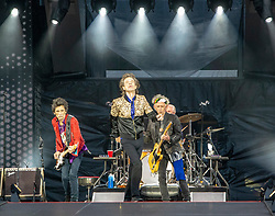 Ronnie Wood, Mick Jagger, Charlie Watts and Keith Richards of The Rolling Stones performs on stage at Murrayfield Stadium in Edinburgh, Scotland.