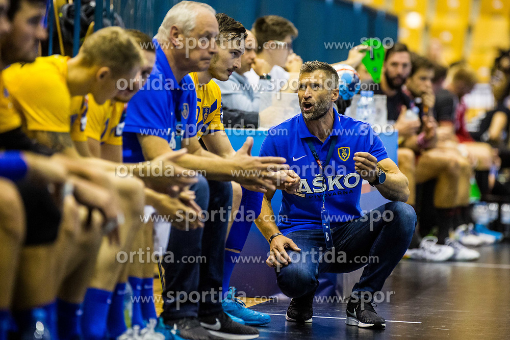Ocvirk Tomaz head coach of RK Celje Pivovarna Lasko and Malus Jaka of RK Celje Pivovarna Lasko during handball match between RK Celje Pivovarna Lasko (SLO) and SG Flensburg Handewitt (GER) in 3rd Round of EHF Men's Champions League 2018/19, on September 30, 2018 in Arena Zlatorog, Celje, Slovenia. Photo by Grega Valancic / Sportida