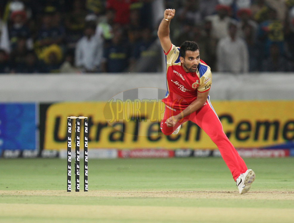 Zaheer Khan of Royal Challengers Bangalore bowls during match 11 of the Indian Premier League ( IPL ) between the Deccan Chargers and the Royal Challengers Bangalore held at the Rajiv Gandhi International Cricket Stadium in Hyderabad on the 14th April 2011...Photo by Parth Sanyal/BCCI/SPORTZPICS