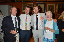 Left o right, DAVID PENTREATH, BEN PENTREATH, CHARLIE McCORMICK and JUDITH PENTREATH at a party to celebrate the publication of English Houses by Ben Pentreath held at the Art Worker's Guild, 6 Queen Square, London on 28th September 2016.