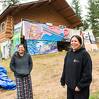 """Mayuk Manuel and her twin sister Kanahus. """"Tiny Houses"""" being built by First Nations in Secwepemc territory to protest Kinder Morgans proposed construction of the Trans Mountian pipeline twinning. They plan to build ten tiny homes to be placed along and block construction of the pipeline route through Secwepemc territory. Begun by the Mayuk Manuel and her twin sister Kanahus, and with support from Mayuk's partner Isha Jules, they call themselves the Tiny House Warriors. PLEASE NOTE. NOT MODEL RELEASED. please contact those photographed for permission to publish."""