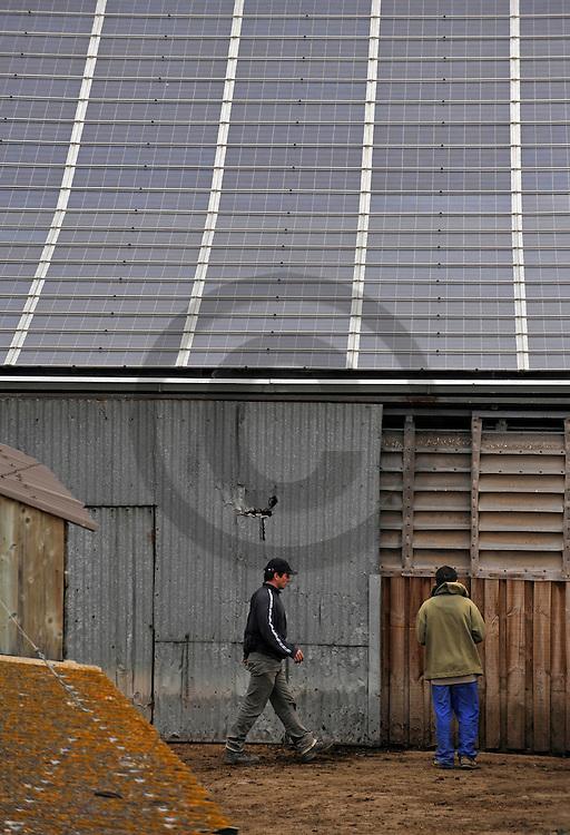 15/04/09 - ALLY - HAUTE LOIRE - FRANCE - Panneaux solaires sur l exploitation agricole de Marc Olagnole - Photo Jerome CHABANNE