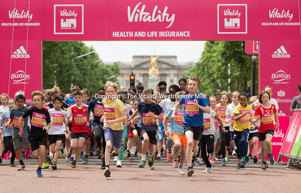 Start of the Westminster Schools Race during The Vitality Westminster Mile, Sunday 28th May 2017.<br /> <br /> Photo: Ben Queenborough for The Vitality Westminster Mile<br /> <br /> For further information: media@londonmarathonevents.co.uk