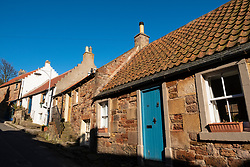 Row of old cottages in Crail fishing village in East Neuk of Fife, Scotland, UK,