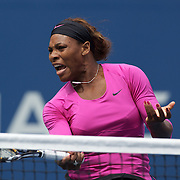 Serena Williams (pictured) and Venus Williams, USA, in action against Alisa Kleybanova, and Ekaterina Makarova, Russia, in the Women's doubles competition during the US Open Tennis Tournament at Flushing Meadows, New York, USA, on Thursday, September 10, 2009. Photo Tim Clayton