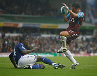 Photo: Steve Bond.<br />Birmingham City v West Ham United. The FA Barclays Premiership. 18/08/2007. Matt Etherington (r) vaults a challange by Radhi Jaidi (ground)