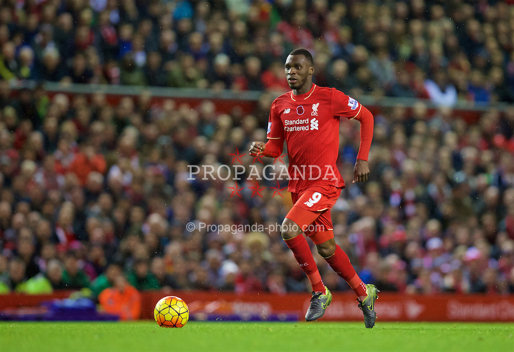 LIVERPOOL, ENGLAND - Sunday, November 8, 2015: Liverpool's Christian Benteke in action against Crystal Palace during the Premier League match at Anfield. (Pic by David Rawcliffe/Propaganda)