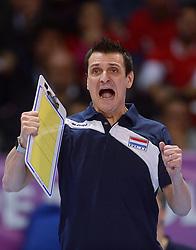 06-01-2016 TUR: European Olympic Qualification Tournament Turkije - Nederland, Ankara<br /> Nederland wint met 3-0 van Turkije / Nederland viert feest na de fantastische 3-0 overwinning op Turkije. Coach Giovanni Guidetti