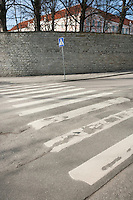 Pedestrian crossing sign on empty street; Tallinn; Estonia; Europe