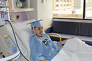Madison HS senior Erick Reyes is ready to receive his high school diploma surrounded by family and friends in a bedside ceremony at Texas Children's Hospital.