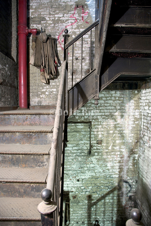 detail of a dusty old stairwell