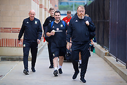 LOS ANGELES, USA - Wednesday, May 23, 2018: Wales' head of public affairs Ian Gwyn Hughes, physiotherapist Declan Lynch and head of international affairs Mark Evans during a training session at UCLA ahead of the International friendly match against Mexico. (Pic by David Rawcliffe/Propaganda)