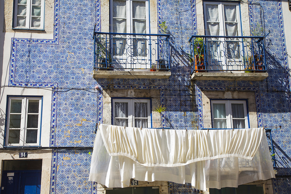 Ceramic tiles facades in Madragoa district in Lisbon.