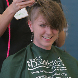 18 March 2009:  Event organizer and graduate student at Tulane School of Medicine, Jen Flament gets her head shaved during the second annual St. Baldrick's children's cancer charity shave-a-thon fund raiser held at Tulane Medical Center in New Orleans, Louisiana.
