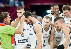 Goran Dragic of Slovenia receiving a gold medal from Miroslav Cerar, Prime minister of Slovenia  at Trophy ceremony after winning during the Final basketball match between National Teams  Slovenia and Serbia at Day 18 of the FIBA EuroBasket 2017 when Slovenia became European Champions 2017, at Sinan Erdem Dome in Istanbul, Turkey on September 17, 2017. Photo by Vid Ponikvar / Sportida