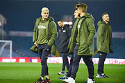 Ezgjan Alioski of Leeds United (10) chats after arriving at the ground during the EFL Sky Bet Championship match between Leeds United and West Bromwich Albion at Elland Road, Leeds, England on 1 March 2019.