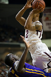 LSU forward Duop Reath (1) takes a charge from Texas A&M guard TJ Starks (2) during the first half of an NCAA college basketball game Saturday, Jan. 6, 2018, in College Station, Texas. (AP Photo/Sam Craft)