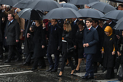 R-L : Emine Erdogan, Justin Trudeau, Brigitte Macron, Emmanuel Macron, Angela Merkel, King Mohammed VI of Morocco, Jean-Claude Junker, King Felipe VI of Spain and other world leaders walk to Arc de Triomphe during a ceremony gathering heads of State around French president Emmanuel Macron to commemorate the 100th year of end of World War I, on November 11, 2018 in Paris, France. Photo by Ammar Abd Rabbo/ABACAPRESS.COM