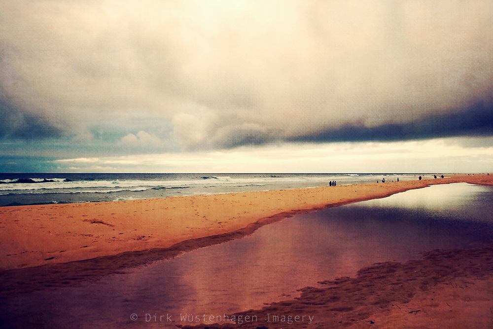 People on the beach of Contis-Plage, France<br /> texturized photo