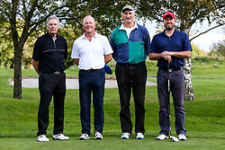 Rod Wesson joins Jelf Lampier as they take part in the Annual Bristol Rovers Golf Day - Rogan/JMP - 09/10/2017 - GOLF - Farrington Park - Bristol, England - Bristol Rovers Golf Day.