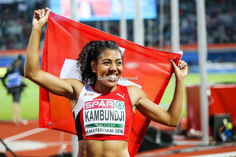 08.07.2016. Amsterdam, Holland. The European Athletics Championships.  Mujinga Kambundji (SUI) celebrates