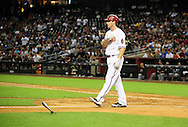 May 19 2011; Phoenix, AZ, USA; Arizona Diamondbacks batter Stephen Drew (6) reacts after striking out swing during the seventh inning against the Atlanta Braves at Chase Field. The Diamondbacks defeated the Braves 2-1. Mandatory Credit: Jennifer Stewart-US PRESSWIRE