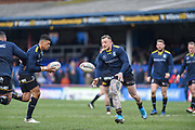 Josh Charnley (5) of Warrington Wolves warming up before the Betfred Super League match between Wakefield Trinity Wildcats and Warrington Wolves at Belle Vue, Wakefield, United Kingdom on 16 February 2020.