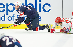 Dan Sexton of USA vs Andrei Stas of Belarus during Ice Hockey match between USA and Belarus at Day 7 in Group B of 2015 IIHF World Championship, on May 7, 2015 in CEZ Arena, Ostrava, Czech Republic. Photo by Vid Ponikvar / Sportida