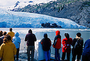 Alaska. Portage Glacier Cruises. Visitors enjoy magnificent up close view of the glacier.