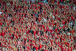 LYON, FRANCE - Wednesday, July 6, 2016: Wales supporters sing during the UEFA Euro 2016 Championship Semi-Final match Wales against Portugal at the Stade de Lyon. (Pic by Paul Greenwood/Propaganda)