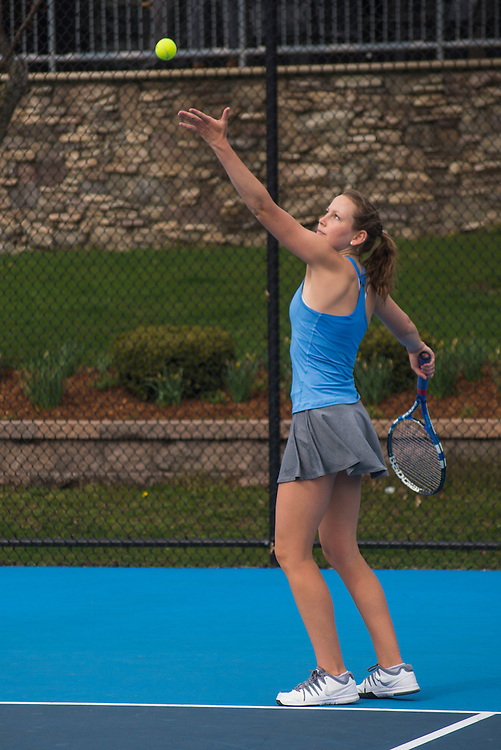 4/1/16 - Medford/Somerville, MA - Lauren Louks hits the ball during the Tufts women's tennis matches against Colby on the Voute Tennis Courts on Apr 1, 2016. (Ray Bernoff / The Tufts Daily)