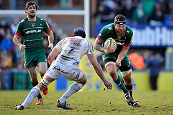 Sebastian de Chaves of Leicester Tigers in possession - Photo mandatory by-line: Patrick Khachfe/JMP - Mobile: 07966 386802 28/03/2015 - SPORT - RUGBY UNION - Leicester - Welford Road - Leicester Tigers v Exeter Chiefs - Aviva Premiership